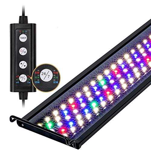 hygger 14W 24/7 Lighting Aquarium LED Light, Sunrise-Daylight-Moonlight Mode and DIY Mode, Adjustable Timer Adjustable Brightness Fish Tank Light with Extendable Bracket 7 Colors for Planted Tank