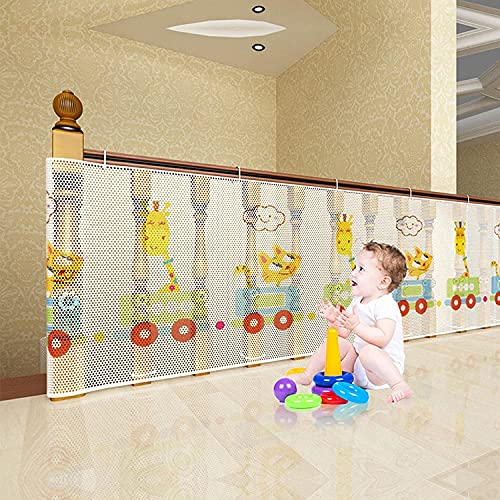 BAICHUN Safety Banister Stair Mesh Net,Fall Protection Safety Net,Rail Balcony Stairs Safety Net,Banister Stair Net For Kids/Pet/Toy Safety On Indoor/Outdoor Stairs(Size:200cm×78cm)