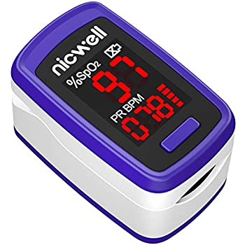 Nicwell Pulse Oximeter,Fingertip Blood Oxygen Saturation Monitor with Lanyard,SpO2 Levels and Heart Rate Fast Reading Oxygen Meter