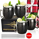 Moscow Mule Mug Set of 4 Moscow Mule Mug, Black Plated Stainless Steel Mug 18oz, for Chilled Drinks MUGS0003-GMP (Hammered Black)