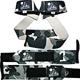 Wrist Wraps + Lifting Straps Bundle (2 Pairs) for Weightlifting, Cross Training, Workout, Gym, Powerlifting, Bodybuilding-Support for Women & Men,Best During Weight Lifting -Camo Grey,1 Year Warranty