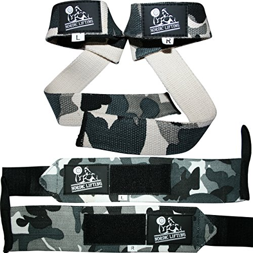 Wrist Wraps + Lifting Straps Bundle (2 Pairs) for Weightlifting, Cross Training, Workout, Gym, Powerlifting, Bodybuilding-Support for Women & Men,Best During Weight Lifting -Camo Grey,