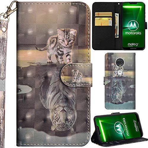 DodoBuy Motorola Moto G7 Play Hülle 3D Flip PU Leder Schutzhülle Handy Tasche Wallet Hülle Cover Ständer mit Trageschlaufe Magnetverschluss für Motorola Moto G7 Play - Katze Tiger