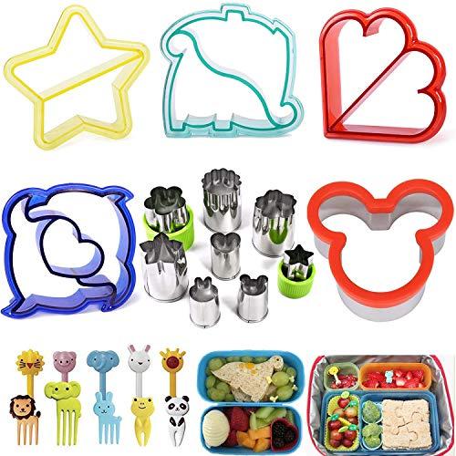 KAISHANE 23 Pieces Sandwich Cutters - Includes 5PCS Sandwich Cutter(Dinosaur Dolphin Mickey Mouse Star Heart Shape),8PCS Fruit Cutter(Rabbit Bear Heart Star Round Flower Shape) and 10PCS Food Picks