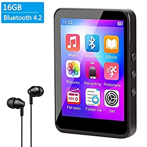 """MP3 Player with Bluetooth 4.2 Upgrade 2.8"""" Touch Screen HiFi Lossless Sound Portable MP3 Music Player with FM Radio, Voice Recorder, E-Book, 128GB TF Card, Pedometer"""