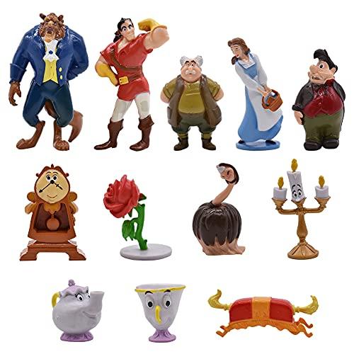 Hilloly 12 pcs Decoración para Tarta Princesa La Bella y la Bestia Cake Topper Mini Juego de Figuras Niños Fiesta de cumpleaños Pastel Decoración Taza de té, Rosa, Reloj