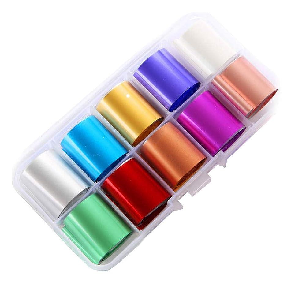 連隊解くセッティングネイルチップデコレーションDIY 10色のためのホログラフィックネイルアート転写箔ステッカー