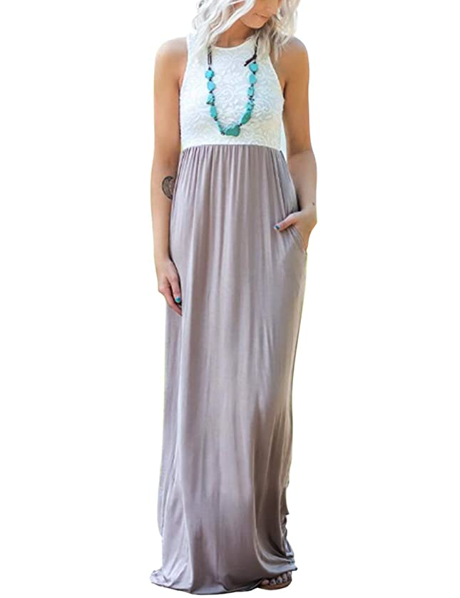 Blooming Jelly Womens Sleeveless Racerback Lace Loose Flowy Maxi Dresses Casual Long Dress with Pockets