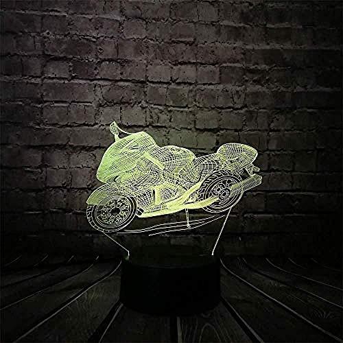 3D Luz De Noche Led LED de luz nocturna Arrastre la motocicleta decoración del hogar y para codormir Con interfaz USB, cambio de color colorido