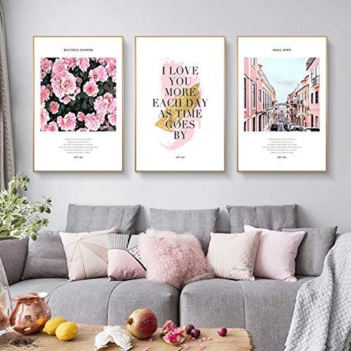 Pintura en lienzo póster artístico vista de la ciudad rosa palabras románticas nórdicas póster de flores lienzo arte de pared impresiones pintura decoración del hogar imágenes para sala de estar