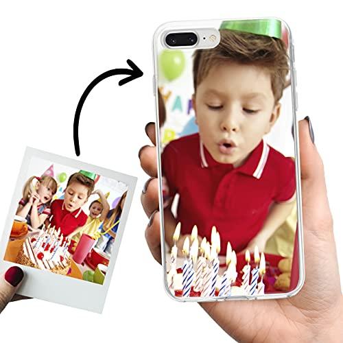 Phone Case Trends – Funda iPhone 8 Plus y iPhone 7 Plus Personalizada con tu Foto o Texto – Carcasa Personalizable Gel Flexible - Funda Transparente y de Silicona - Impresión Directa en Funda