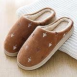 B/H Invierno Memory Foam Casa Zapatos,Zapatillas de Felpa de Invierno, Bolso Antideslizante y cómodas Zapatillas de algodón-Coffee_44 / 45
