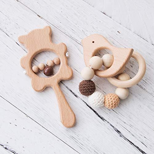 Promise Babe 2pc Baby Holz Beißring Spielzeug Buchenholz Tier Armband Sensorische Aktivität Neugeborene Glocke Rassel Montessori Spielzeug