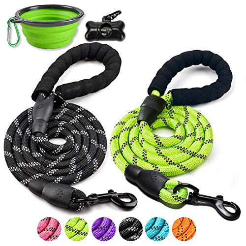 DOYOO 2 Pack Dog Leash 6 FT Thick Durable Nylon Rope - Comfortable Padded Handle Reflective Rope Dog Leash for Medium Large Dogs with Collapsible Pet Bowl and Garbage Bags (Black + Green)