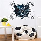 Etiqueta de la pared Batman 3D Papel tapiz de decoración para el hogar Regalo para habitación de niños multicolor