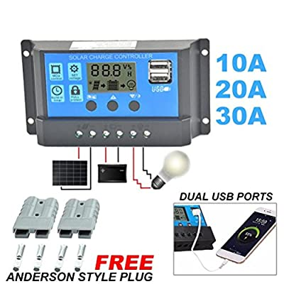 LtrottedJ Solar Panel Regulator Charge Controller ,USB 10A/20A/30A 12V-24V + Anderson Plugs
