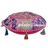 Maniona Crafts - Cojín redondo de 81,28 cm, diseño de patchwork, color rosa