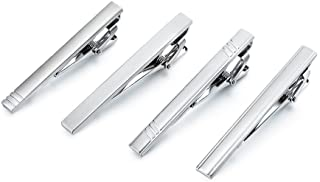 Fashion Tie Clip for Men - 4 Pieces of Silver Tone Tie Bar Set by AnotherKiss