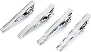 Fashion Tie Clip for Men - 4 Pieces of Silver Tone Tie Bar Set
