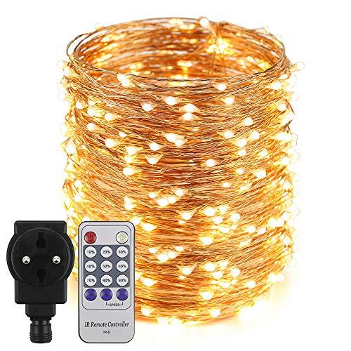 Erchen Strom-betrieben LED Lichterkette, 165 FT 500 LED 50M Stecker dimmbare Kupfer Draht Lichterketten mit 12V DC Adapter Fernbedienung für...