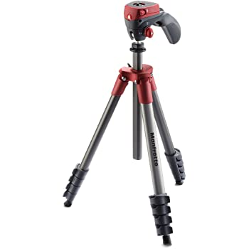 """Manfrotto MKCOMPACTACN-RD Compact Action Aluminum 5-Section Tripod Kit with Hybrid Head, Red,Compact Action 61"""""""