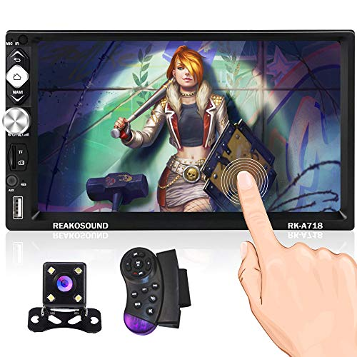 Android Double Din Car Stereo with GPS Navigation Bluetooth 7 Inch Touch Screen Car Radio Support WiFi FM Mirror Link for Android/iOS + Backup Camera Steering Wheel Remote Control