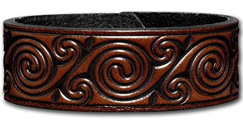 Hoppe & Masztalerz Lederarmband geprägt 24MM aus Vollrindleder Keltische Spirale (4) braun-antik mit Druckknopfverschluss (nickelfrei) (20 Zentimeter)