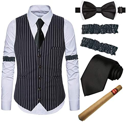 Gangster Stripe Vest,White Dress Suit Shirt /& Armbands,Toy Fake Cigar,Tie,Pre-Tie 1920s Gatsby Costume Accessories for Mens
