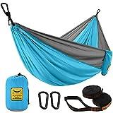 Puroma Camping Hammock Single & Double Portable Hammock Ultralight Nylon Parachute Hammocks with 2 Hanging Straps for Backpacking, Travel, Beach, Camping, Hiking, Backyard