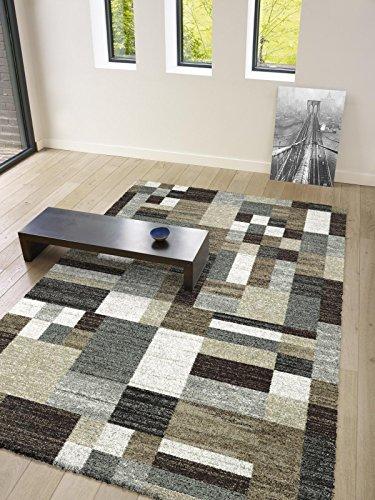 Moderner Designer Teppich Berber aus hochwertiger Synthetik aus Belgien (133 x 195 cm, Berber 02301516268 kariert beige grau braun)