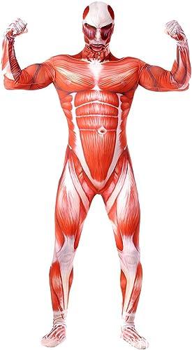 Angriff auf die riesige Cosplay Lycra Performance Kleidung Anime Kostüm Muskeln Strumpfhosen,rot-XL