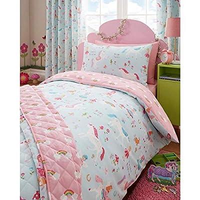 Kidz Club Magical Unicorns Single Duvet Cover and Pillowcase, Blue & pink