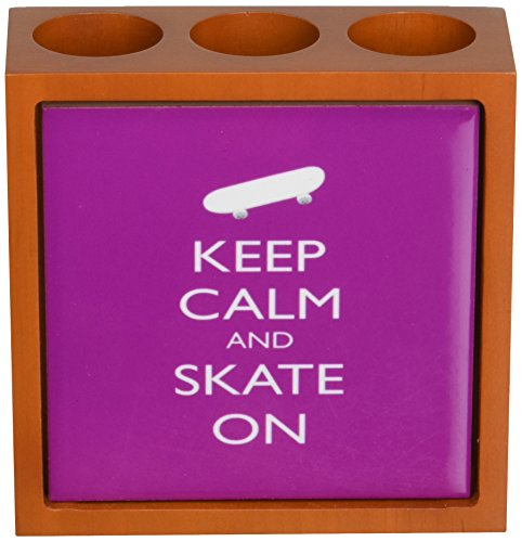 Rikki Knight 12,7 cm Keep Calm and Skate On Light Pink Farbe Design Holz Fliesen Stifthalter (rk-ph720) (rk-ph720)