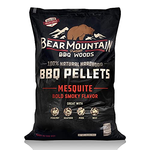 Bear Mountain BBQ Premium All Natural Earthy and Bold Mesquite Smoker Wood Chip Pellets For Outdoor Gas, Charcoal, and Electric Grills, 40 Pound Bag