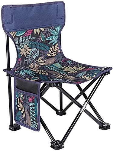 SSFZ Portátil plegable compacto mochilero Camping silla al aire libre portátil silla plegable ultra ligera playa manivela silla-azul_L Silla plegable compacta y ligera-Azul_Pequeño