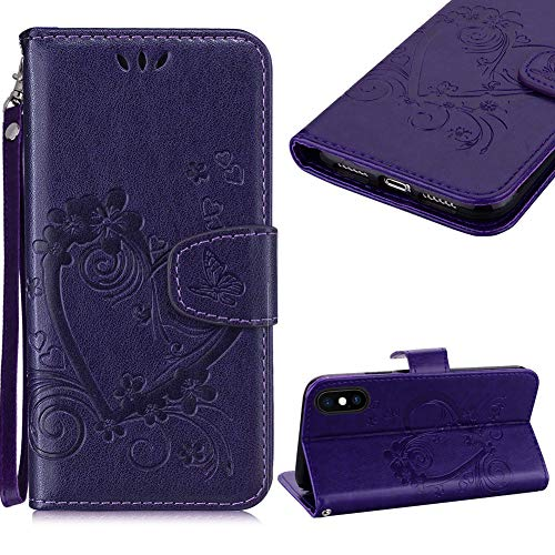 Cestor Sangle Portefeuille Coque pour iPhone X/XS,Élégant en Relief Coeur D'amour Papillon Cover Housse Antichoc PU Cuir Stand Protection Coque avec Fermeture Magnétique pour iPhone X/XS,Violet