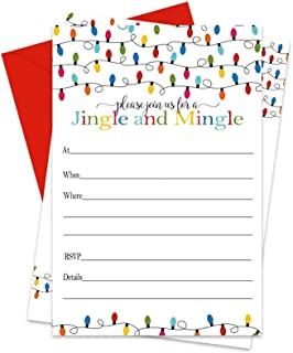 Festive Christmas Party Invitations with Red Envelopes (25 Pack) Fill in Blank Jingle and Mingle Invites for Holiday Celebrations, Christmastime Parties
