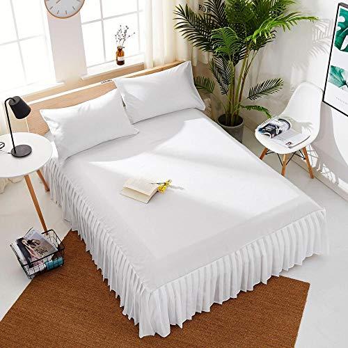 Amswsi Lenzuolo Pieghettato Gonna Letto Hotel 1,8 m Lenzuolo Spazzolato copriletto di Bellezza di Colore Puro-5 Bianco_70 * 185 + 55 cm