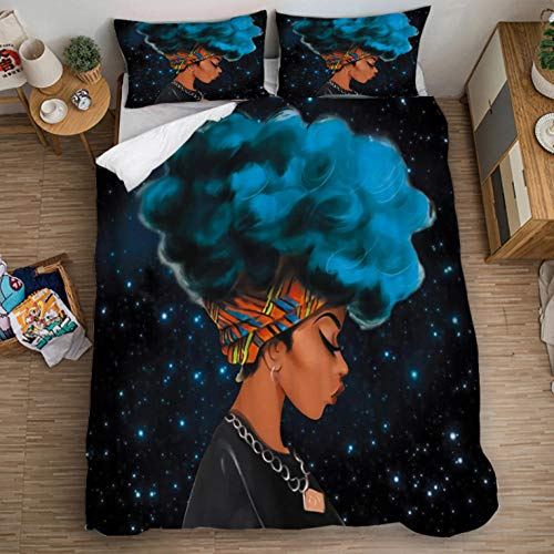 Ropa De Cama Conjunto De 3 Piezas,Mujer Africana De Pelo Azul De Dibujos Animados/260X240cm Funda Nórdica Grande 3 Piezas Moderno Reversible Impreso Microfibra Edredón Ropa De Cama Conjunto