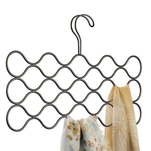 iDesign Classico sjaalhouder met 23 lussen, hangende organizer voor sjaals, stropdassen, riemen, Pashminas en Co. Van metaal, bronskleurig