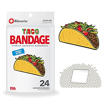 BioSwiss Novelty Bandages Self-Adhesive Funny First Aid Novelty Gag Gift  24pc   Taco