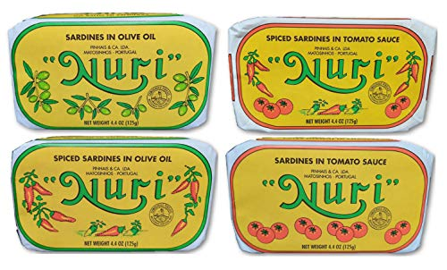 NURI Portuguese Sardines Variety Pack | 4 Pack Bundle | One of Each | Pure Olive Oil, Spiced Pure Olive Oil, Tomato and Olive Oil AND Spiced Tomato and Olive Oil