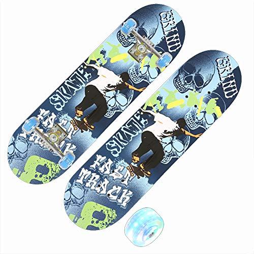 Z-Meng Clock Skateboard, 28 Zoll Professionelles Skateboard, Ausgestattet Mit LED-Rädern, Geeignet Für Skateboarding Für Kinder, Mädchen Und Jungen. (Street Boy [blinkendes Rad])