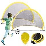 Bibykivn Portería de Fútbol para Niños Plegables, 2 en 1 para Juegos de Fútbol y Entrenamiento, 2 Porterías de Fútbol para Niños Plegables, Montaje rápido Niños Jardín Entrenamiento Futbol (68cm)