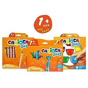 Carioca Set Baby 1+ | Set Colores con Rotuladores Super Lavables, Ceras con Forma de Osito y Maxi Lápices para Bebés a Partir de 12 Meses, 22 Uds