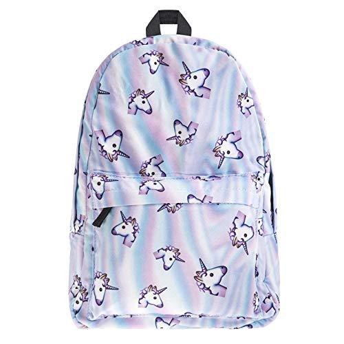 Backpack Unicorn Student Schoolbag Traveling Backpack 3D Printing/27 * 10 * 42cm