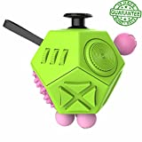 Ombrace 12 Sided Fidget Cube - Fidget Dice ii Green - Fidgeting Toys - Stress Anxiety Reliever - Great for ADD ADHD OCD Autism - for Adults and Children - Durable and Safe - EDC Fidgets - Prime