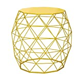 Adeco Hatched Diamond Pattern Home Garden Accents Wire Round Iron Metal Stool Side End Table Plant Stand Chair, Bright Yellow