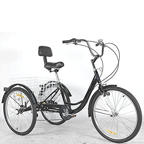 Triciclo para Adultos Bicicleta 24in Triciclos Adultos De 3 Ruedas 7 Velocidades De Tres Ruedas Cruiser Bike con Cesta De Compras Y Canasta del Respaldo del Asiento, Colores Múltiples(Color:Negro)