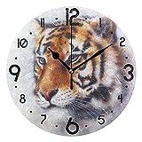 JYSXAD Tigre Pintura al óleo Impresa Pared Reloj de Mesa Vintage decoración del hogar Ornamento Mejor Regalo para Sala de Estar Dormitorio baño Moderno
